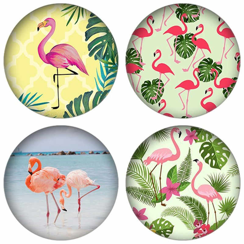 ZDYING 5pcs/lot Round Glass Cabochon Flamingo With Green Plants Tree Pattern Glass Dome Beads Demo Flat Back Making Findings