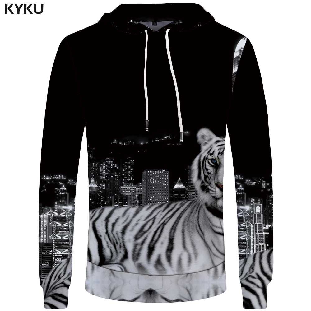 KYKU Tiger Hoodies Men City Mens Clothing Animal Sweatshirt Pocket Hoddie Big Size 3d Hoodies Hooded New Print Streetwear
