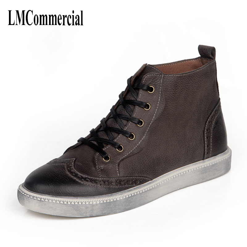 New leather boots for Men Retro tooling high brush color head shoe lace all-match bullock cowhide casual shoes Leisure boots bullock men s winter warm cashmere men martin boots help british retro style boots shoes for men high leather shoes breathable
