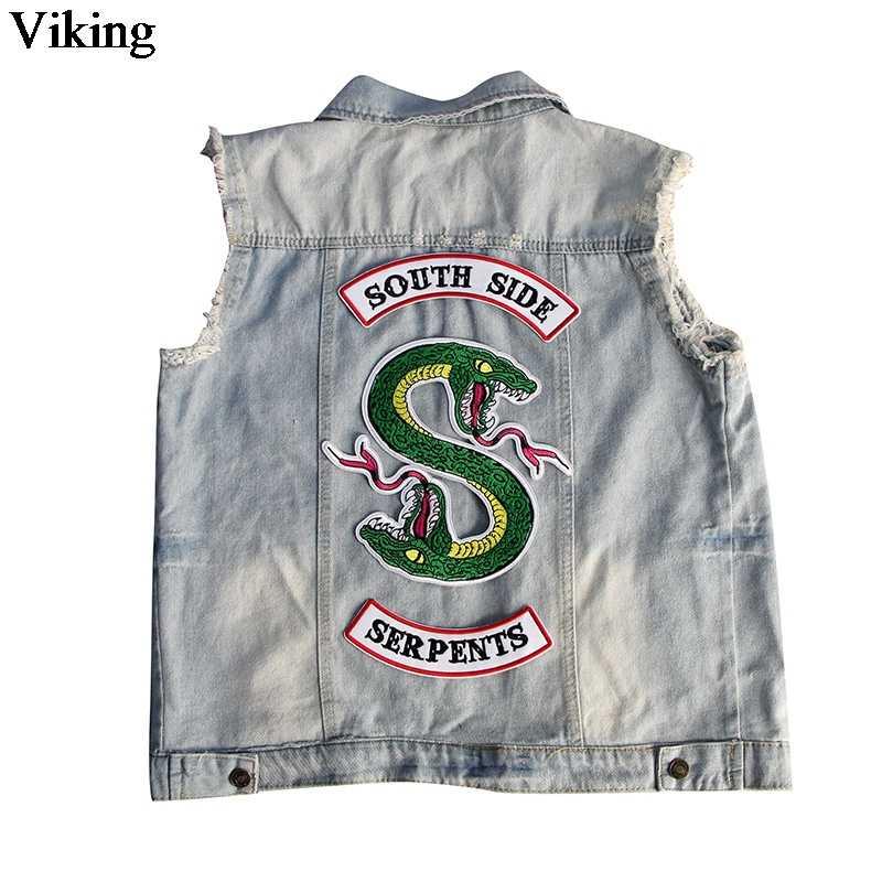 Riverdale Southside Adesivi Patch di Serpenti Serpente Verde di Ferro Sulla Patch FAI DA TE Fresco Cucito Ricamato Patch Per Abbigliamento G0082