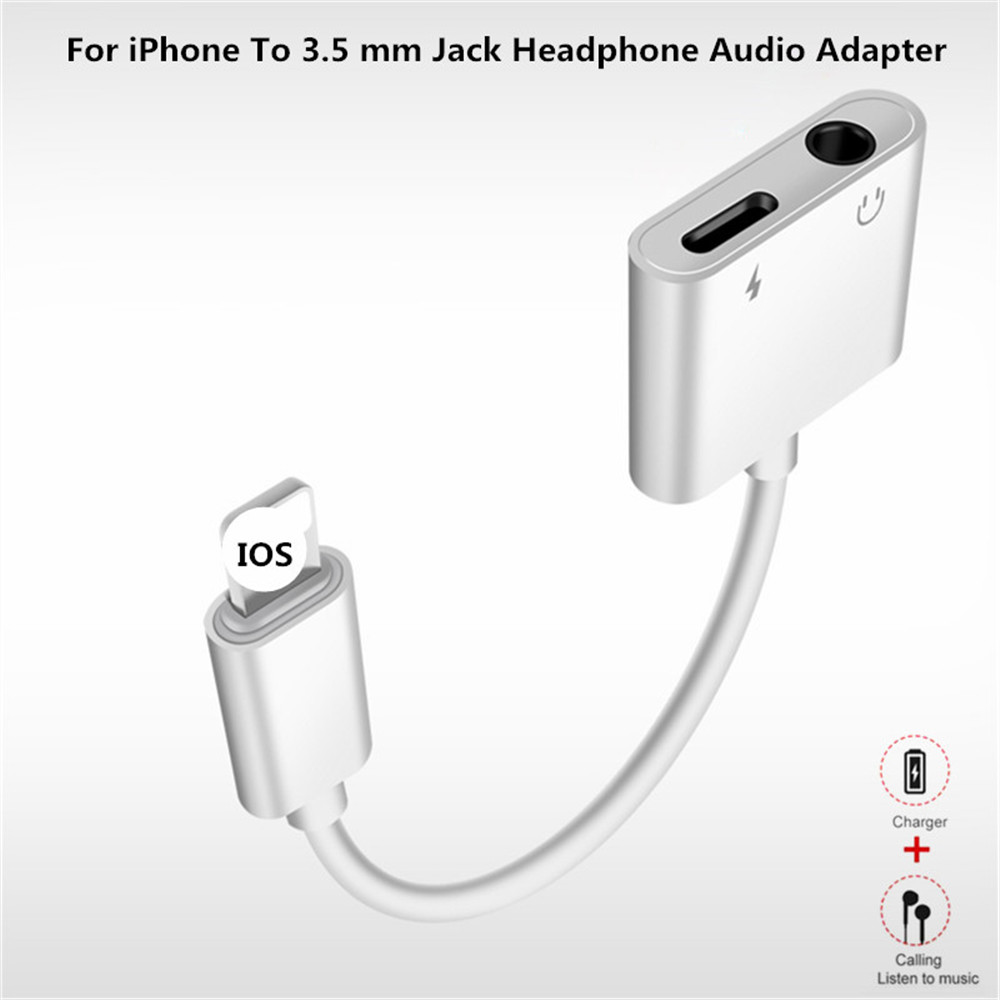 small resolution of for iphone lighting to 3 5 mm headphone jack adapter 2 in 1 for iphone x xs xr 7 plus plug play audio ios 12 charger converter