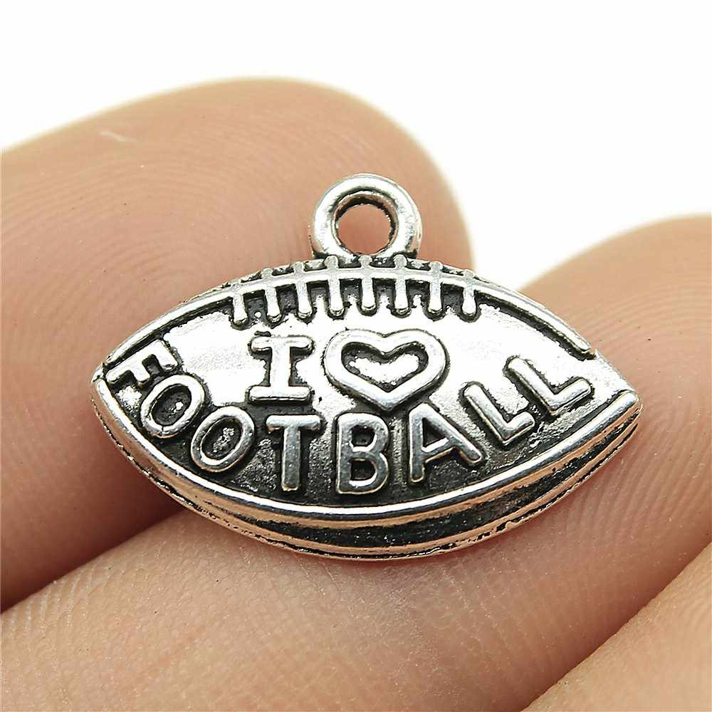 Charms I Love Football Diy Jewelry Findings 30pcs/lot Antique Silver Plated 0.8x0.6 inch (21x15mm) I Love Football Charms