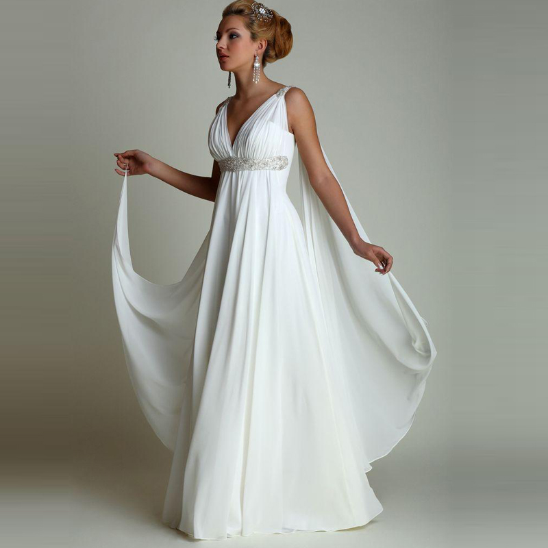 Grecian Style Wedding Gown: Greek Style Wedding Dresses With Watteau Train 2018 V Neck