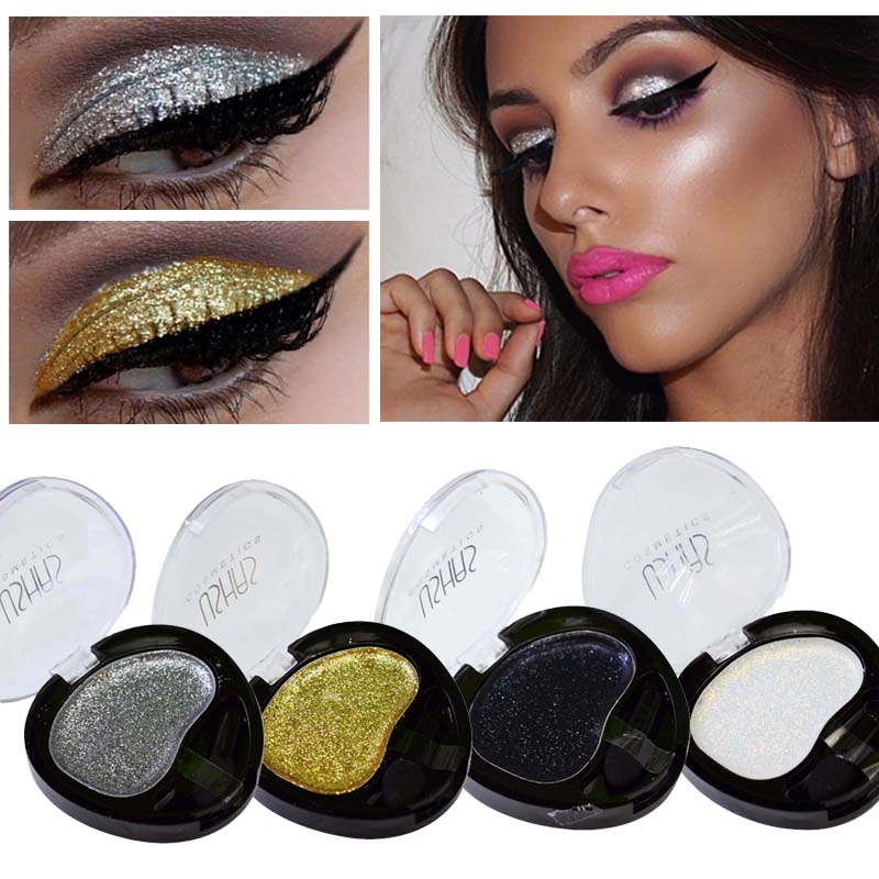 2017 New Brand Eyeshadow Single Professional Makeup Long Lasting Silver Gold Metallic Glitter font b Eyes