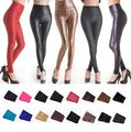 Sexy Ladies Cintura Alta Estiramento Faux Leather Olha Leggings Pants
