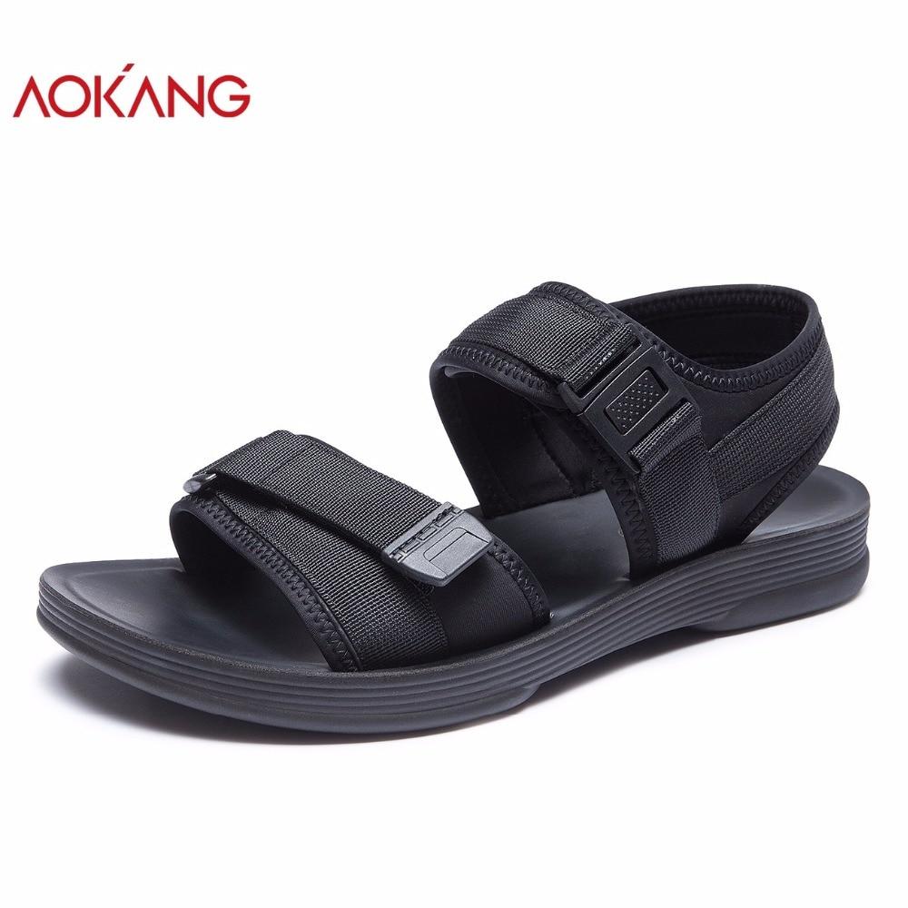 AOKANG 2018 Summer men shoes hook&loop men sandals flat solid shoes men casual men beach shoes comfortable fashion shoes men