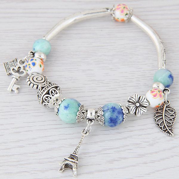 Lemoer Fashion Silver Color Paris Eiffel Tower Leaves Charm Bracelets Bangles Crystal Murano Beads Key Lock Bracelet For Women In From