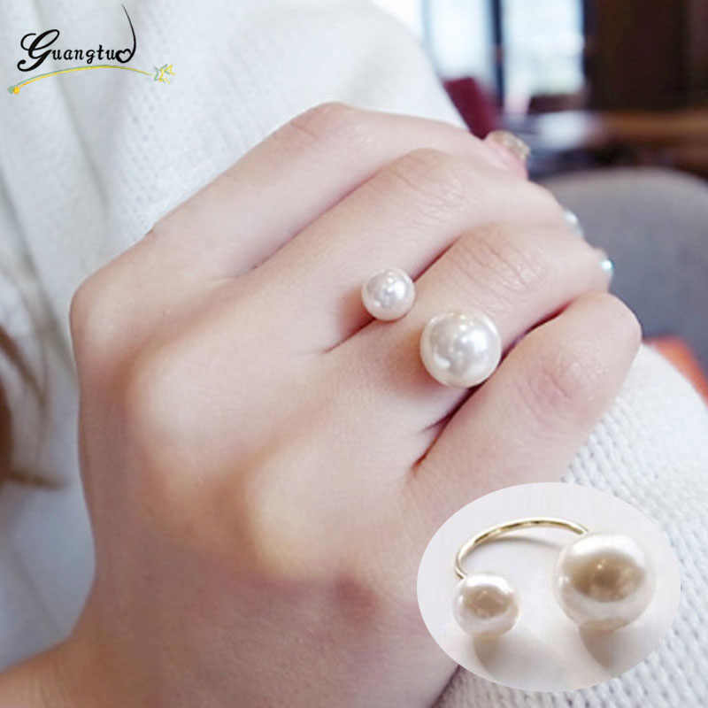 Classic Simulated Pearls Rings For Women Wedding & Engagement Jewelry Adjustable Anillos Finger Ring