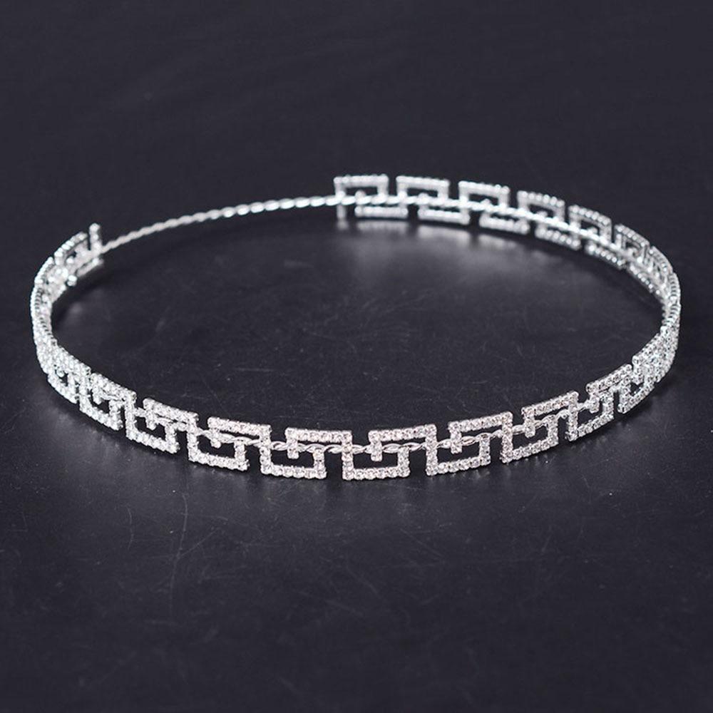 Bridal jewelry tiara - 2017 Rhinestone New Greek Key Full Circle Round Crown Bridal Jewelry Accessory Tiara Headband