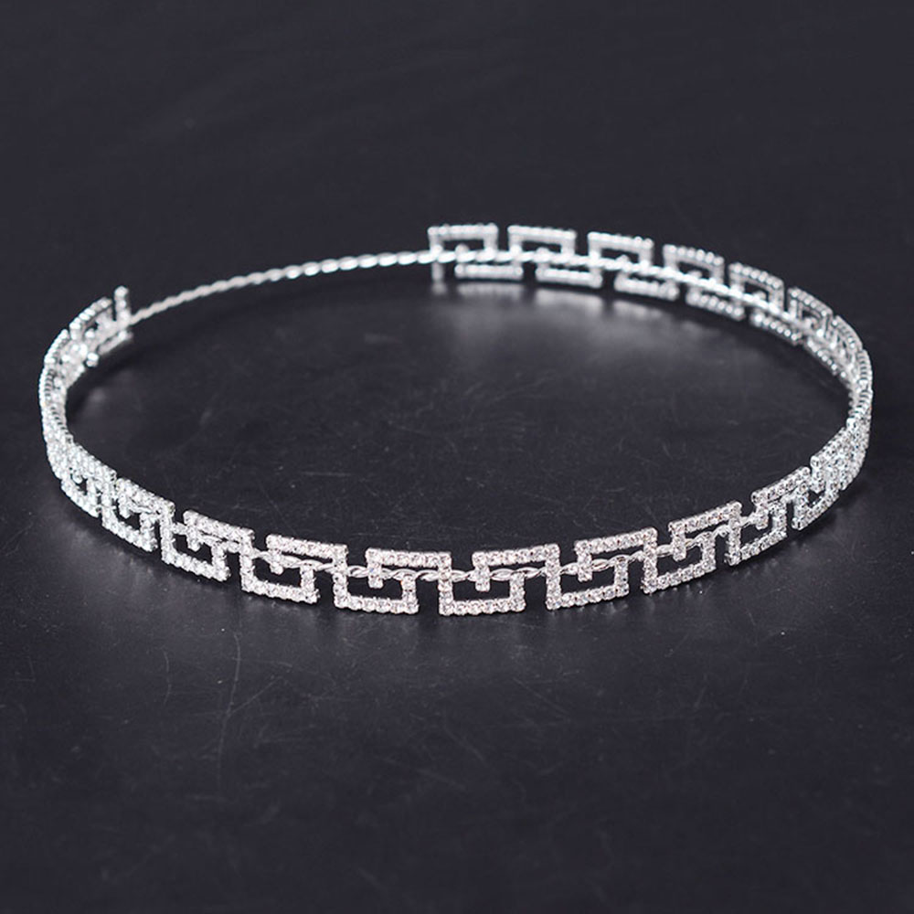 Crowns full circle round tiaras rhinestones crystal wedding bridal - 2017 Rhinestone New Greek Key Full Circle Round Crown Bridal Jewelry Accessory Tiara Headband