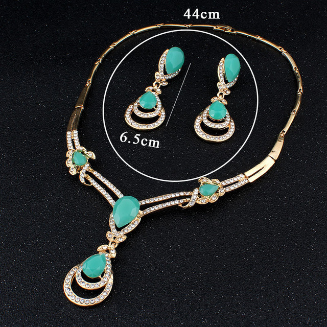 jiayijiaduo African fashion wedding jewelry set Gold-color Charm women summer clothing accessories days blue crystal wholesale