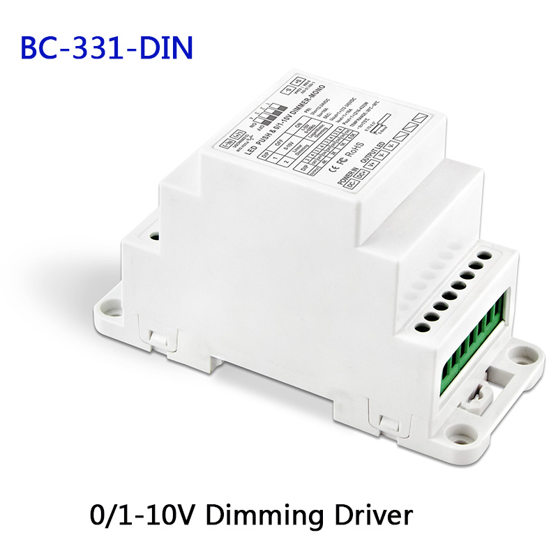 New BC-331-DIN DIN Rail 0-10V 1-10V To PWM LED Dimming Driver,DC12-24V Input,18A*1CH Output Dimmable Led Dimming Power Driver