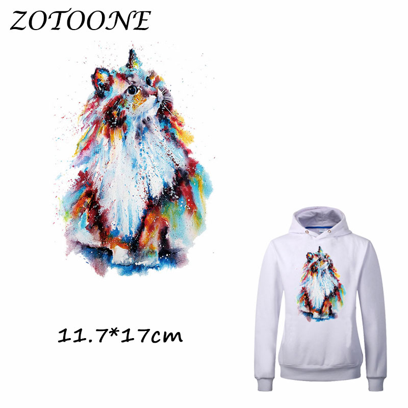 ZOTOONE Iron on Stickers Patch for Clothes Colorful Cat Animal DIY Accessory A-level Heat Transfer Appliques