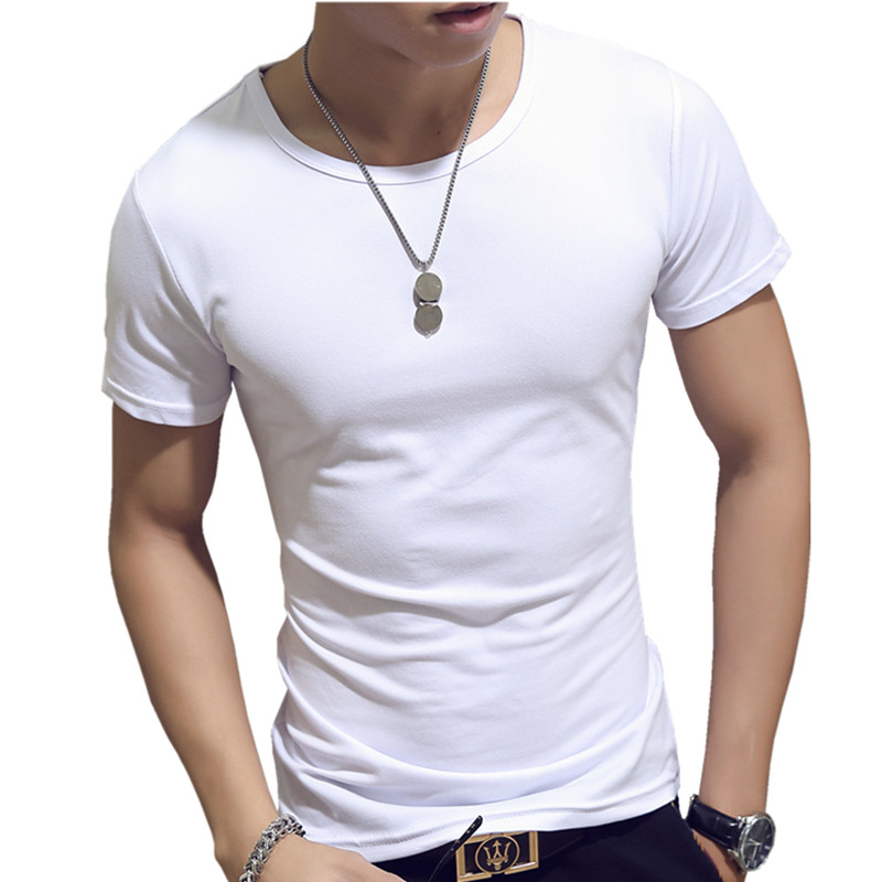 LEFT ROM 2018 fashion male slim fit leisure With short sleeves /high-grade men's comfortable Pure color Round collar T-shirt