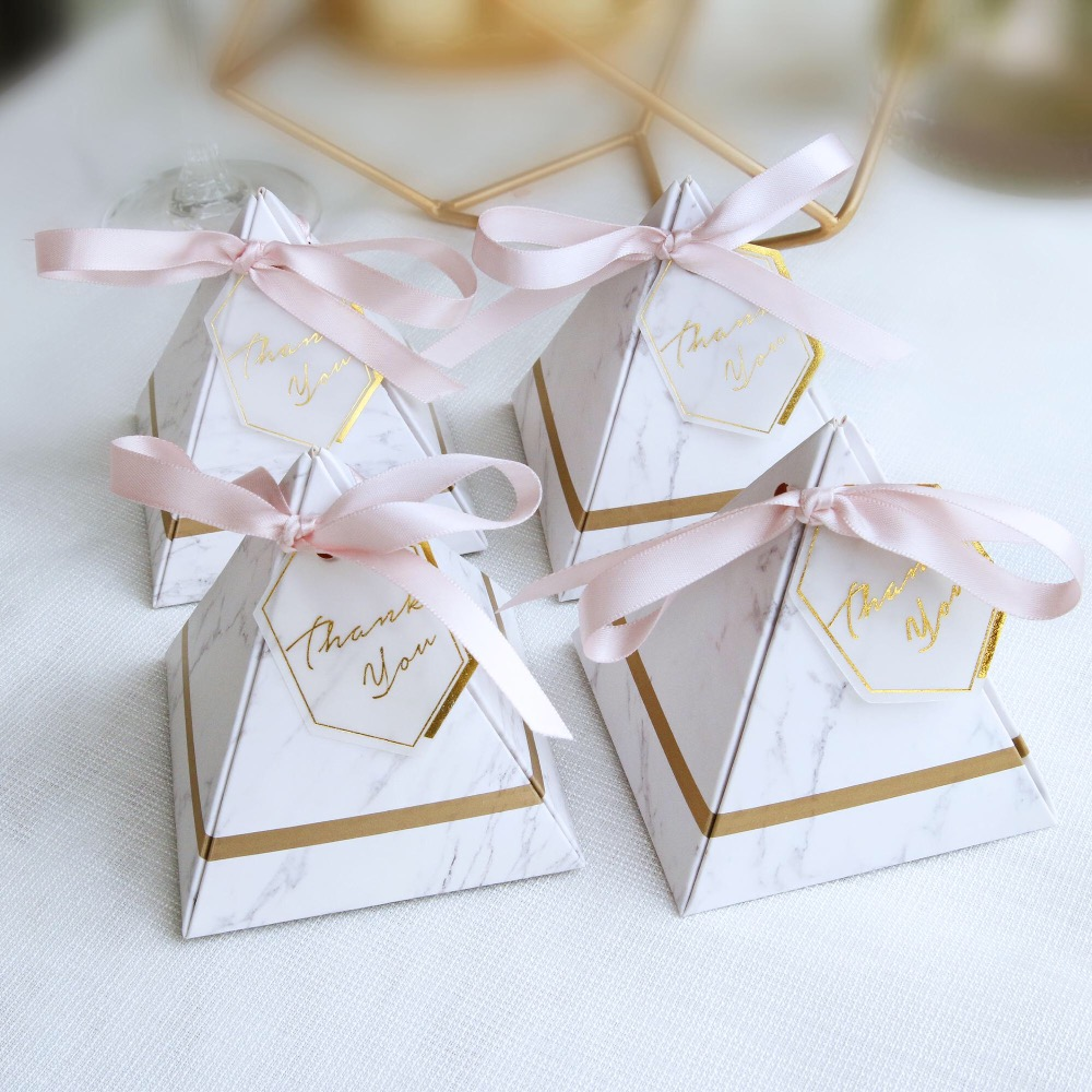 2018 Creative Triangular Pyramid Marble style Candy Box Wedding ...