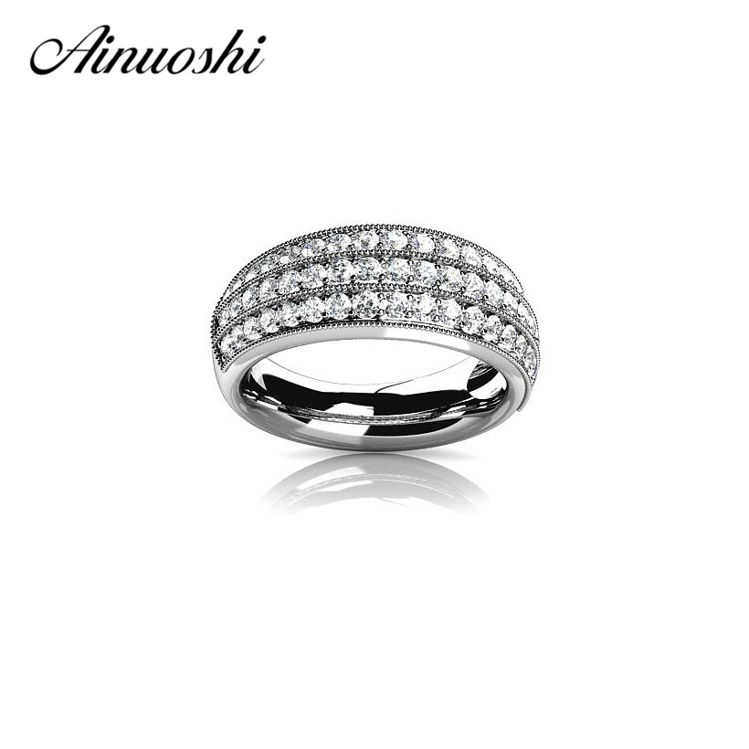 AINUOSHI Luxury 3 Row Drills Ring Genuine 925 Sterling Silver Fashion Jewelry Women Engagement Wedding Party Aneis FemininoAINUOSHI Luxury 3 Row Drills Ring Genuine 925 Sterling Silver Fashion Jewelry Women Engagement Wedding Party Aneis Feminino