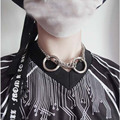 Punk gótico diablo amo partido hecho a mano 2 s ronda cadena de eslabones choker collar collar