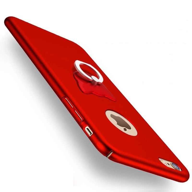 Жесткий черный красный чехол для iPhone 6s чехол s оболочка для iPhone 6 6s Plus 7 8 plus 5S se 5 чехол матовый чехол Капа с кольцом-держателем