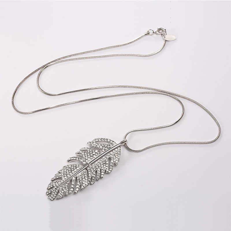 F & U kobiety biżuteria Trendy duży liść Rhinestone wisiorki długi sweter naszyjnik łańcuch naszyjnik bijoux Femme prezent