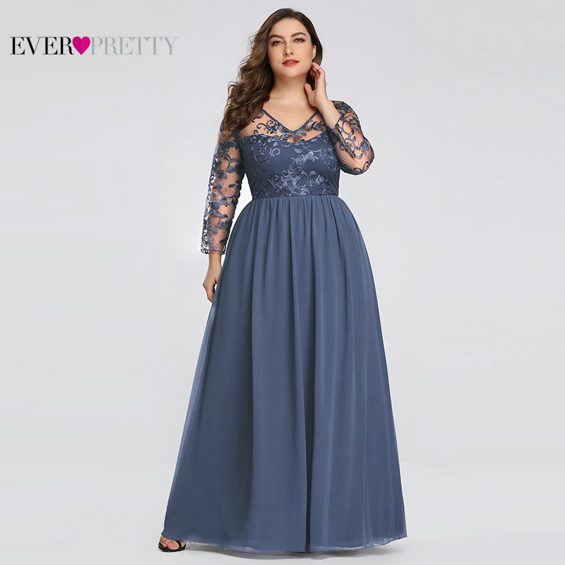 Plus Size Mother Of The Bride Dress Ever Pretty EZ07633 Elegant A-line Lace Appliques Long Party Gowns 2020 Vestido De Madrinha