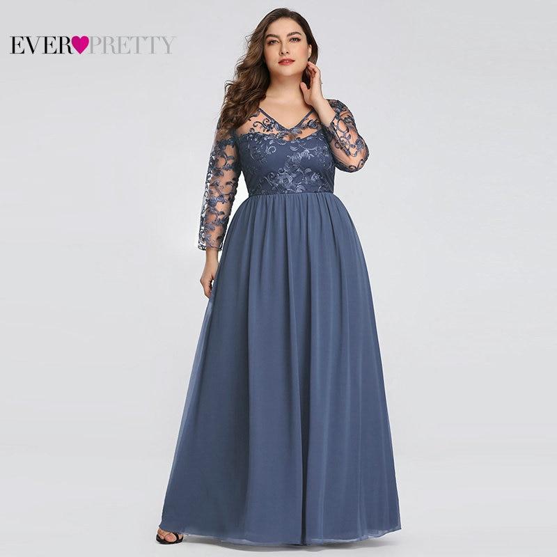 Plus Size Mother Of The Bride Dress Ever Pretty EZ07633 Elegant A-line Lace Appliques Long Party Gowns 2020 Vestido De Madrinha