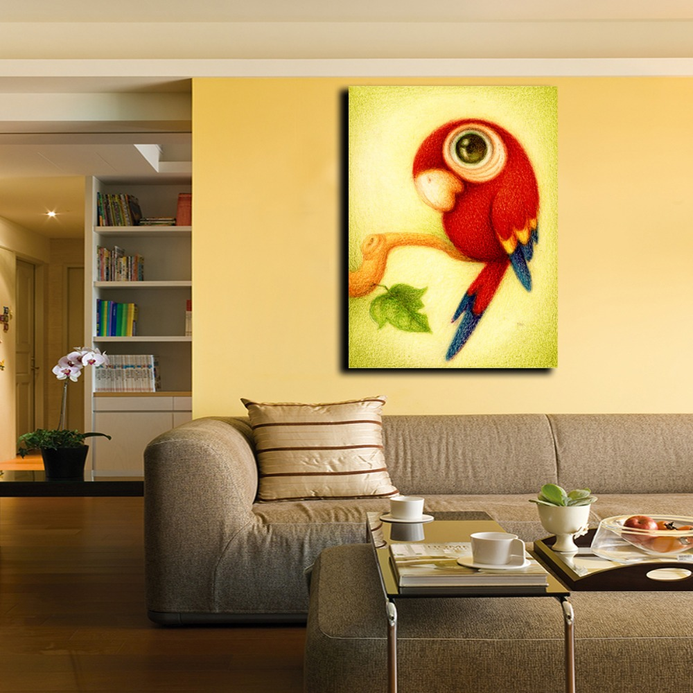 Cartoon Animal Painting Cute Red Parrot Picture Printed on Canvas ...