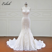 Eslieb 100 Real Photos Robe Mermaid Luxury Bride Dresses Royal Train Lace Off The Shoulder Wedding