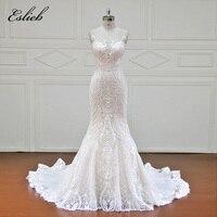 Eslieb 100% Real Photos Robe Mermaid Luxury Bride Dresses Royal Train Lace Off the Shoulder Wedding Dress 2018 Vestido XFB7002