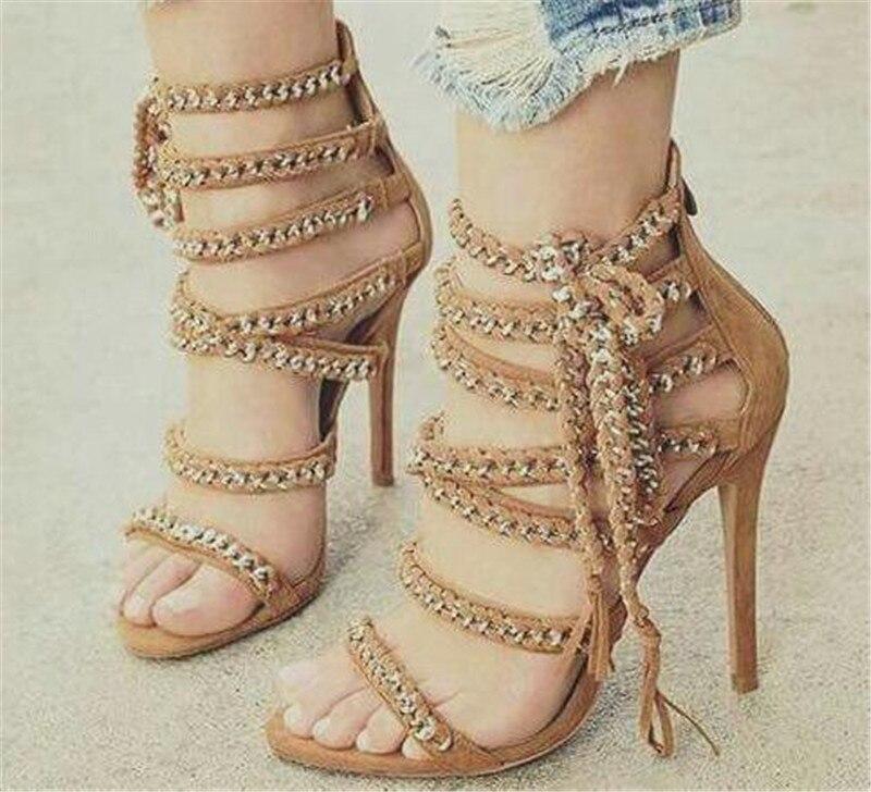 a589626a453 Ladies Chain Embellished Dress High Heel Sandals Tassel Open Toe