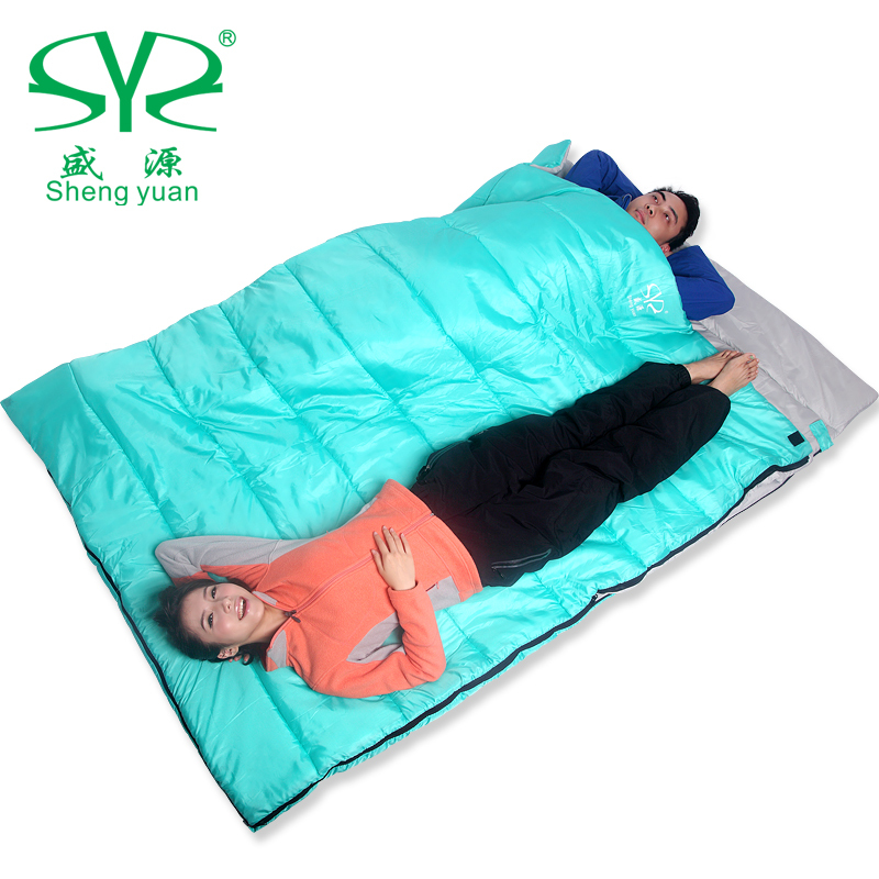 Shengyuan outdoor double sleeping bag to keep warm autumn and winter camping adult sleeping bag lunch Envelope couple 2.8kg couple double sleeping bag with pillows lightweight outdoor camping tour portable adult lover warm sleeping bag for 3 seasons