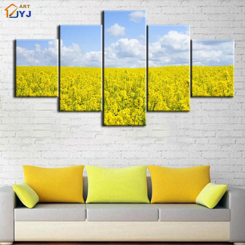 ⑦5Pcs Yellow Flower Print Picture Landscape Oil Painting on Canvas ...
