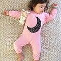 2017 de Pano Do Bebê Rompers Goy Menina Recém-nascidos Lua Romper Macacão Infantil roupas de bebe roupa dos miúdos dos meninos da criança vestuário 4-24 m