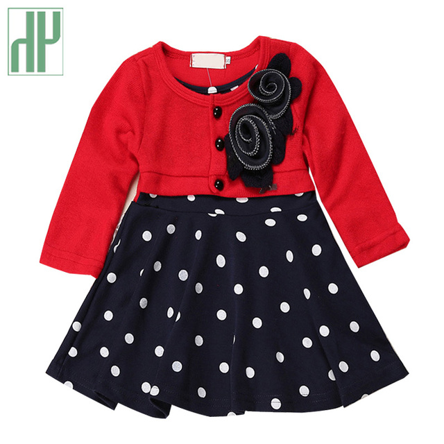 b69863608 HH Baby girl dress princess autumn Dots dress wedding kids party dresses  baby frock designs christening