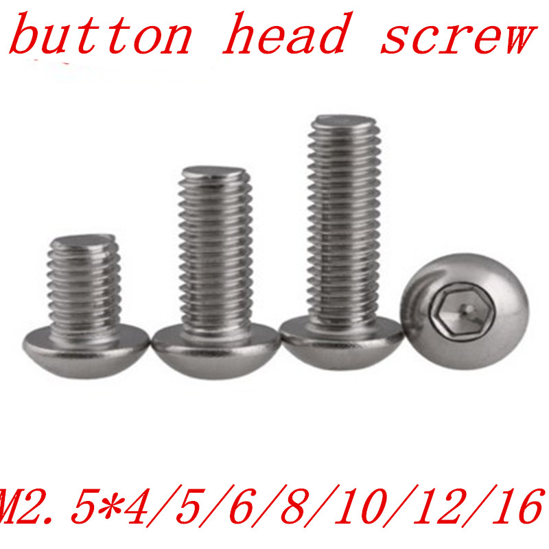 50PCS free shipping ISO7380 M2.5*4/5/6/8/10/12/16/20 2.5mm Stainless Steel Hexagon Socket Button Head Screw free shipping 50pcs mje15033g 50pcs mje15032g mje15033 mje15032 to 220
