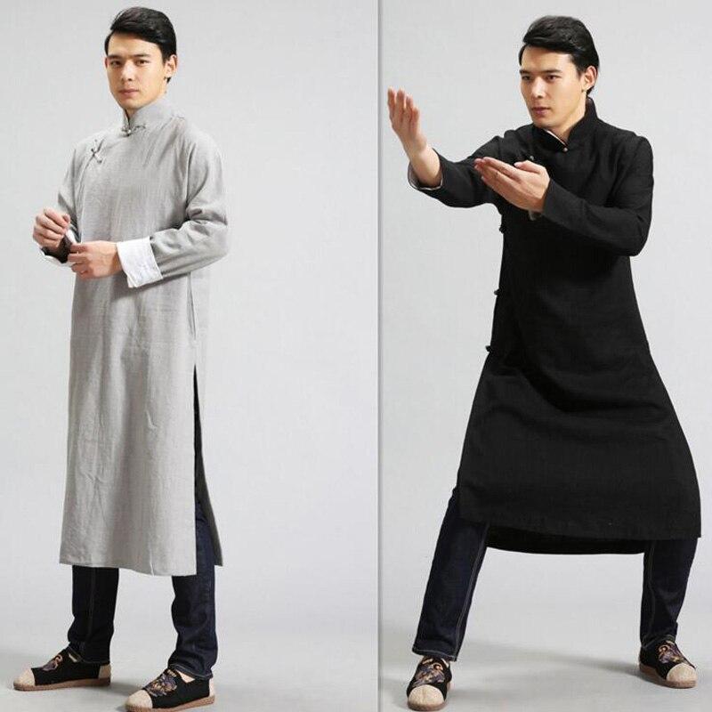 India Nepal Mannen Lange Katoenen Linnen Shirts Nationale Stijl Mannen Lange Mouw Linnen Hemd Mannelijke Losse Lange Ontwerp Knop Linnen kleding-in T-shirts van Mannenkleding op  Groep 1