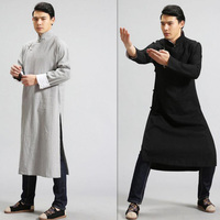 India Nepal Men Long Cotton Linen Shirts National Style Men Long Sleeve Linen Shirt Male Loose Long Design Button Linen Clothing
