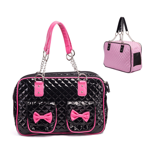 Fashion Portable Small Dog Pet Carrier Bag Chihuahua Puppy Travel Purse Tote  Yorkie Outdoor Kennel Black Pink 33d29758d8428