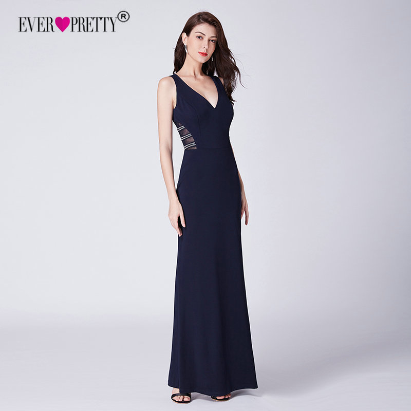 Mermaid Party   Prom     Dresses   Long 2018 Ever Pretty Women's Black Sleeveless Stain V-neck Illusion Sexy Evening Party Gowns