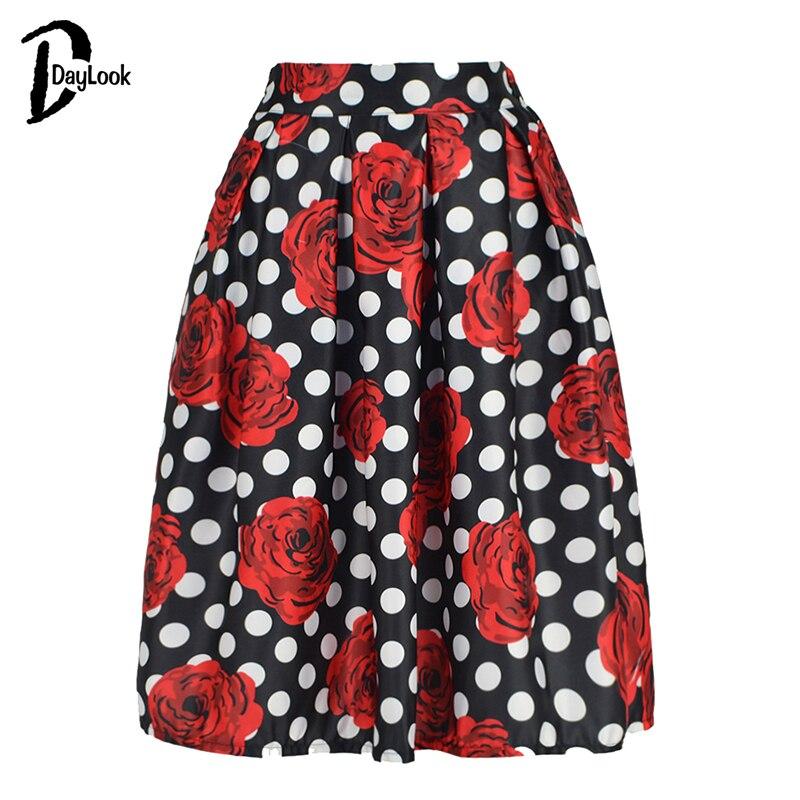 DayLook Daylook 2016 Skirts Womens Rose Ane Polka Dot Stripe Print Midi Skirt Summer Elegant Vintage Pleated Skirt Saia Female