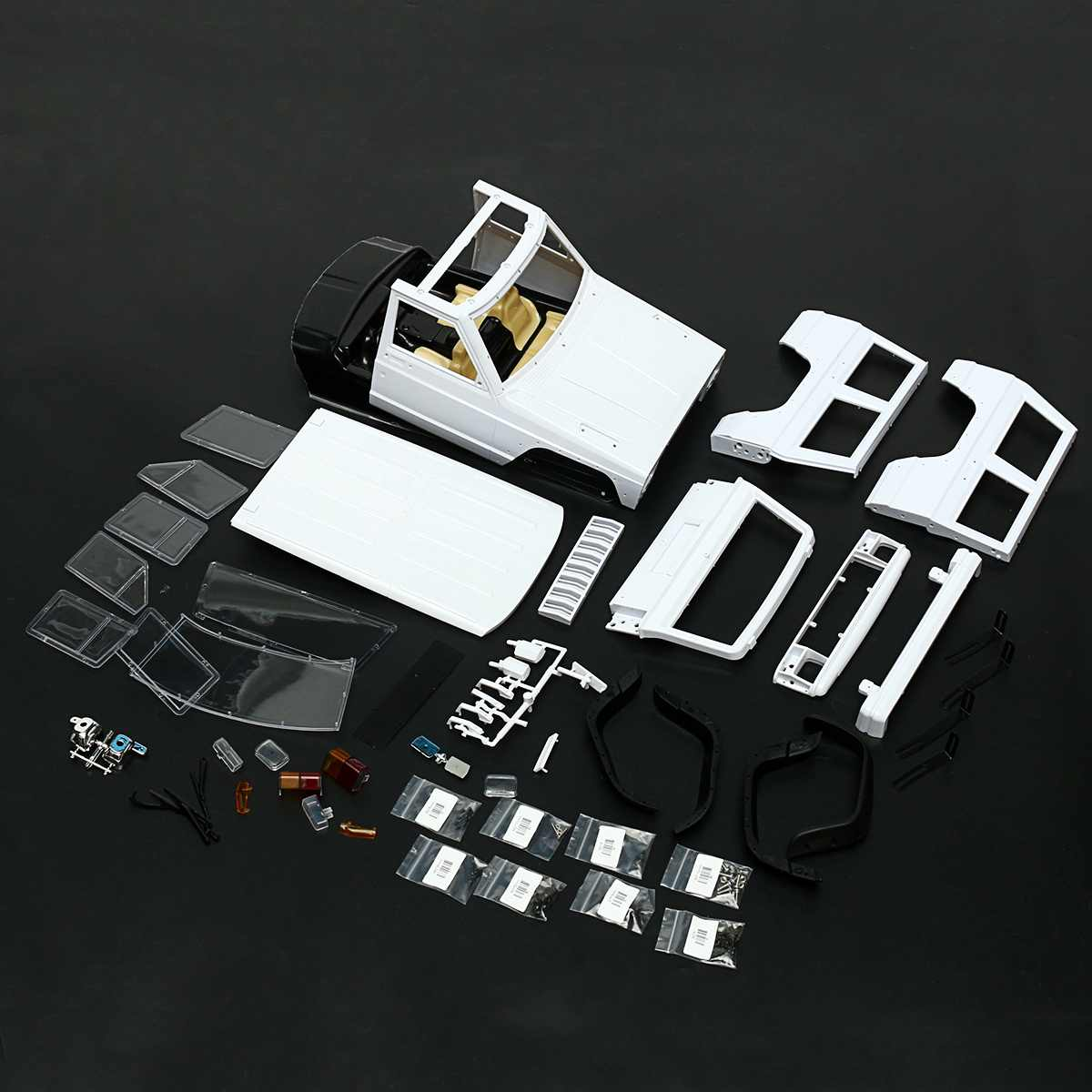Hard Plastic Car Shell Body DIY Kit for 313mm Wheelbase 1/10 For Wrangler Jeeps Axial SCX10 RC Car Crawler Vehicle Model White