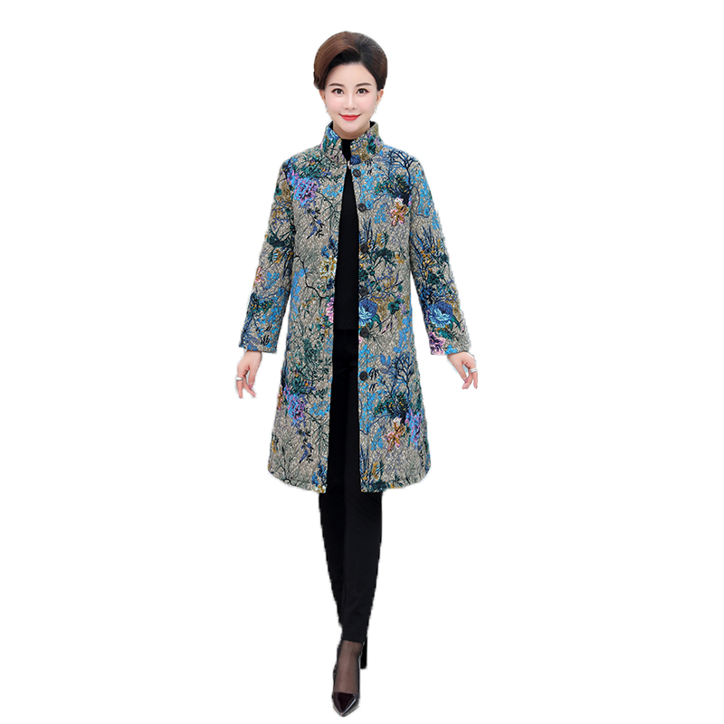 Autumn Winter national wind Add cotton Mother Print in the long paragraph Parker thick padded coat large size women' jacket coat