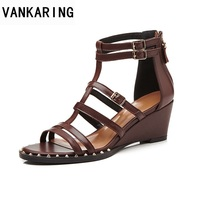 VANKARING summer fashion high quality women shoes wedges women sandals open toe shoes ladies casual date office dress sandals