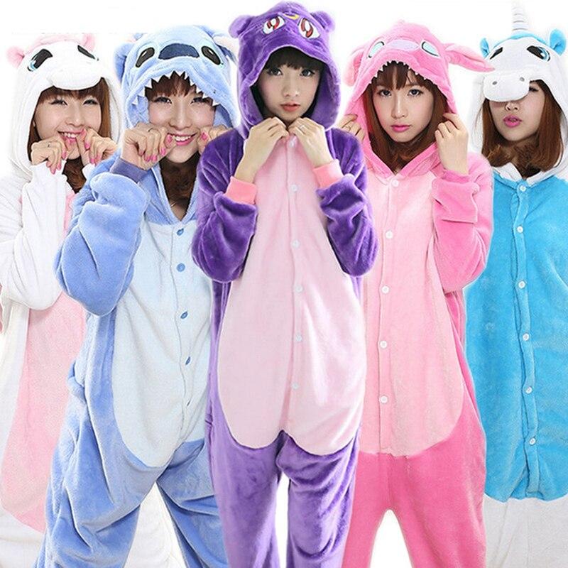 Adults Unicorn Pajamas All In One Pyjama Animal Suit Cosplay Women Winter Garment Cute Animal Unicorn Pajama Sets Winter Costume