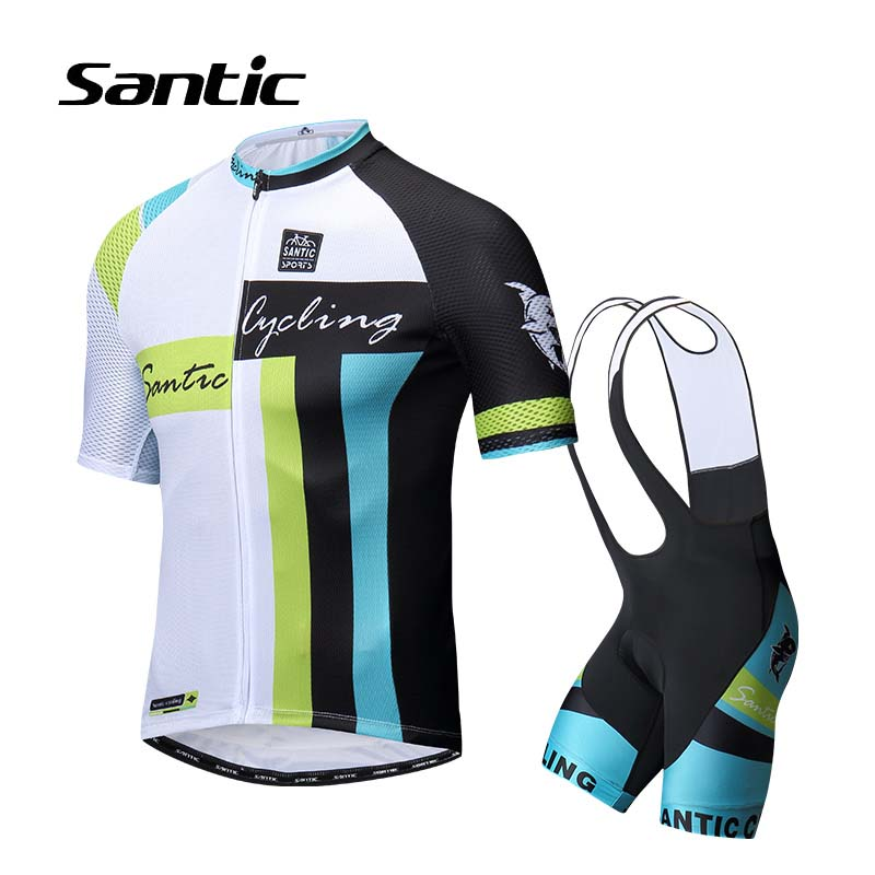 Santic Summer Cycling Jersey Sets Men 2018 Pro Team Cycling Kit Breathable Bicycle Clothing Bike Bib Wear Suit Ropa Ciclismo veobike 2018 pro team summer big cycling set mtb bike clothing racing bicycle clothes maillot ropa ciclismo cycling jersey sets