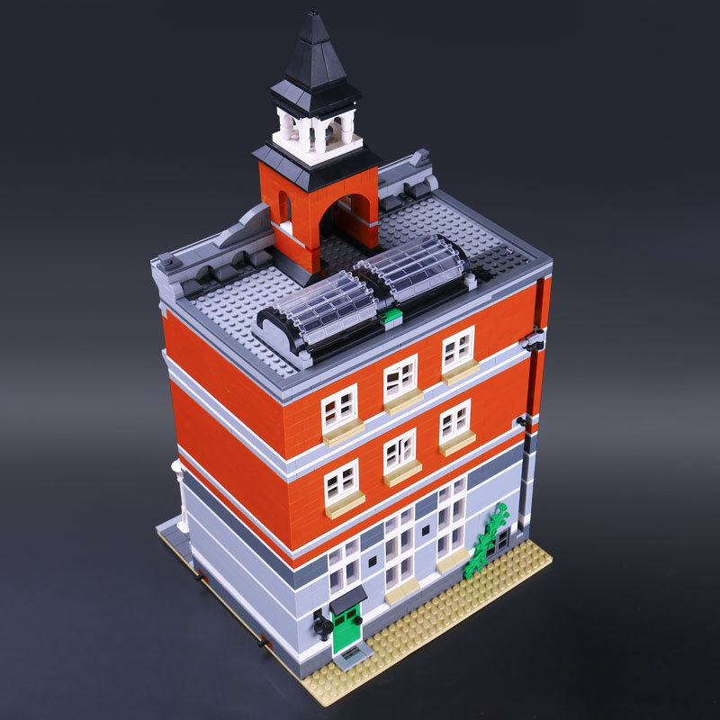 City Street Town Hall Model Building Bricks Creator Kids Toy Compatible Christmas Children Toys Gift цена
