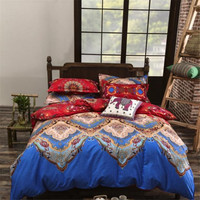 UNIKEA New Mandala Reversible Bedding Set 3/4 Pcs Bohemia Exotic (Duvet Cover + Bed Flat Sheet + Pillow Sham) Twin Full Queen Ki
