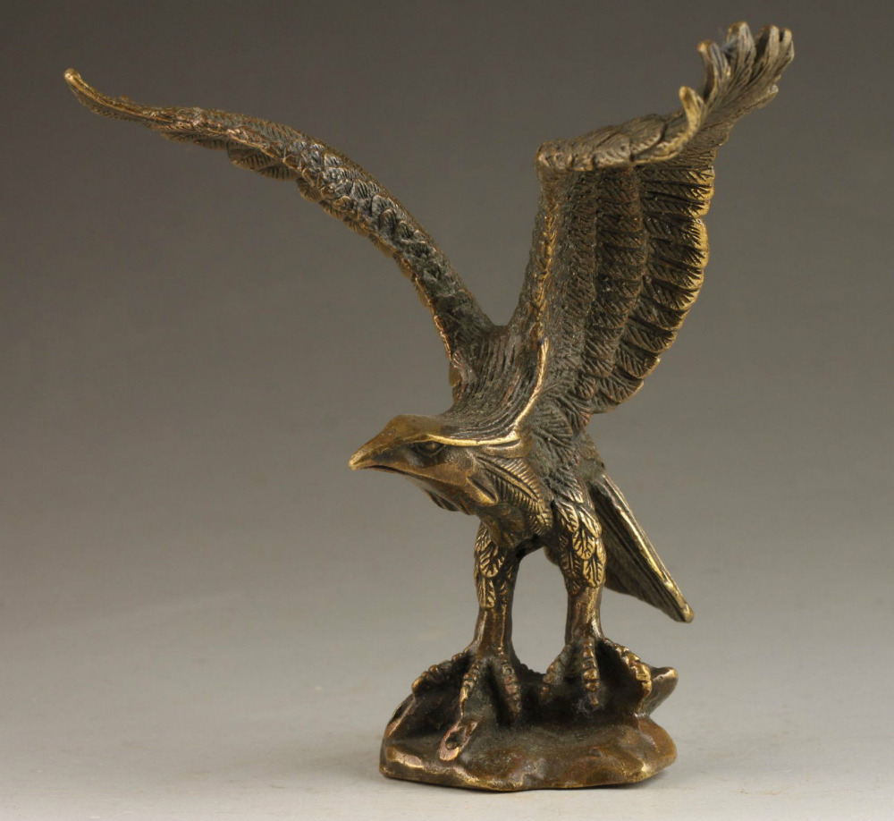 67110516+++Superb Chinese Collectable Handmade Old Carving Vivid Bronze Statue Eagle