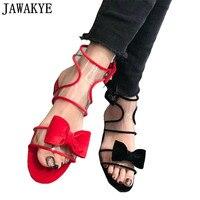 2018 новые босоножки из ПВХ женские черный красный сладкие дамы большой бант бабочкой Декор на плоской подошве каблук летняя пляжная обувь