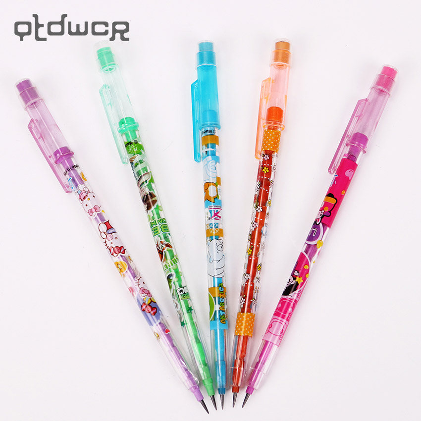 Cute Stationery Writing Pen Cartoon Girl Animal Plastic Standard Pencil With Eraser Student School Office Supplies