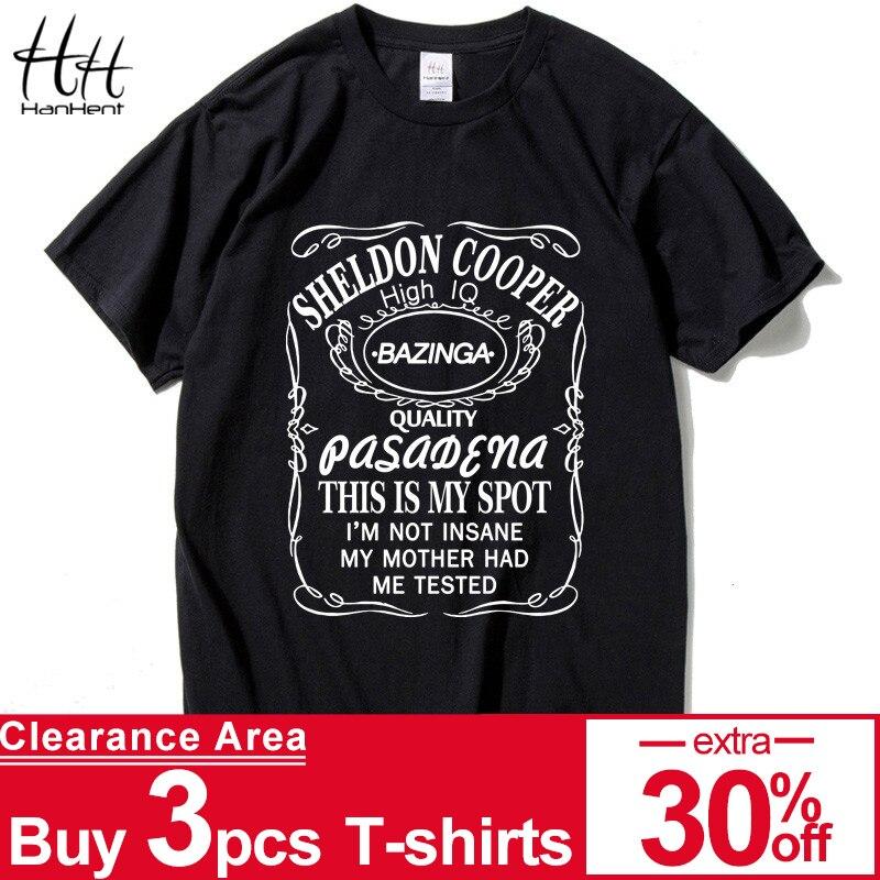 HanHent New The Big Bang Theory Sheldon Cooper Bazinga T Shirt Men Cotton T-Shirt For Man Tshirt Homme Top Tees Drop Shipping Футболка